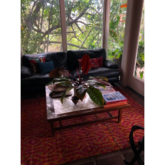 Mid-Century Hollywood Regency Teak and Mother of Pearl Square Coffee Table For Sale - Image 10 of 11