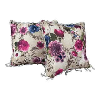 Floral Cotton Pillows With Crystals - a Pair For Sale