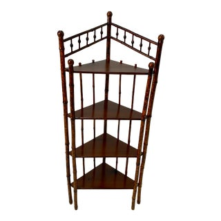 Antique English Bamboo Corner Shelves Bookcase For Sale
