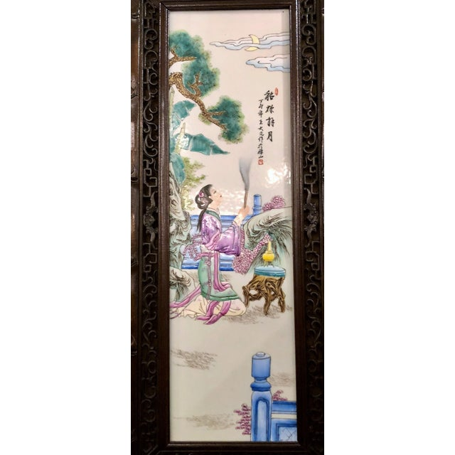 Pair Antique 19th Century Chinese Famille Rose Panels. For Sale - Image 4 of 5
