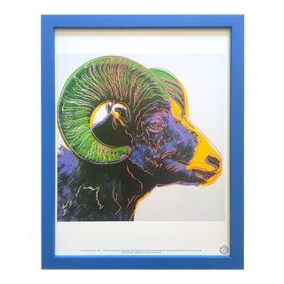 """Andy Warhol Estate Vintage 1989 Endangered Species Framed Lithograph Print """" Bighorn Ram """" 1983 For Sale"""
