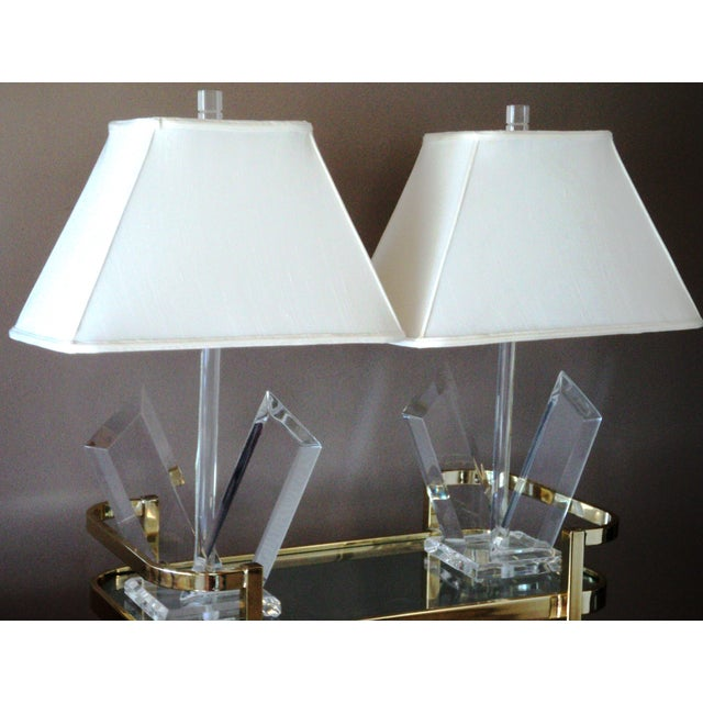 Van Teal Sculptural Lucite Lamps - A Pair - Image 2 of 7