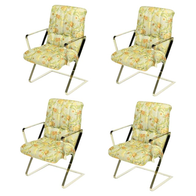 Four Channeled & Button Tufted Chrome Z-Frame Dining Chairs For Sale