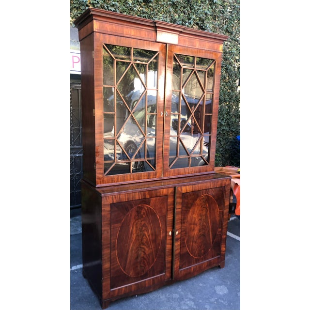 Wood Early 19c Antique English Regency Mahogany Secretary Bookcase For Sale - Image 7 of 12