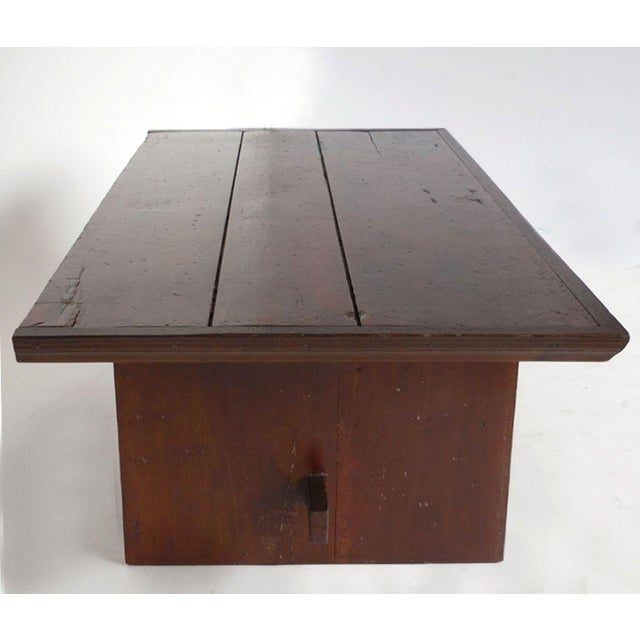 Rustic Coffee Table with Leather Bottom Drawer - Image 6 of 8