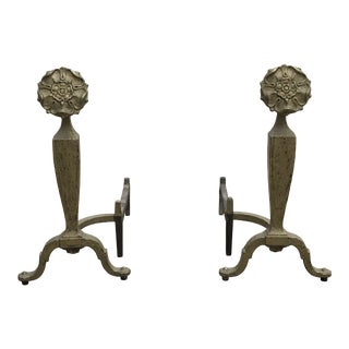 Antique Iron Flower Andirons by Howes - a Pair For Sale