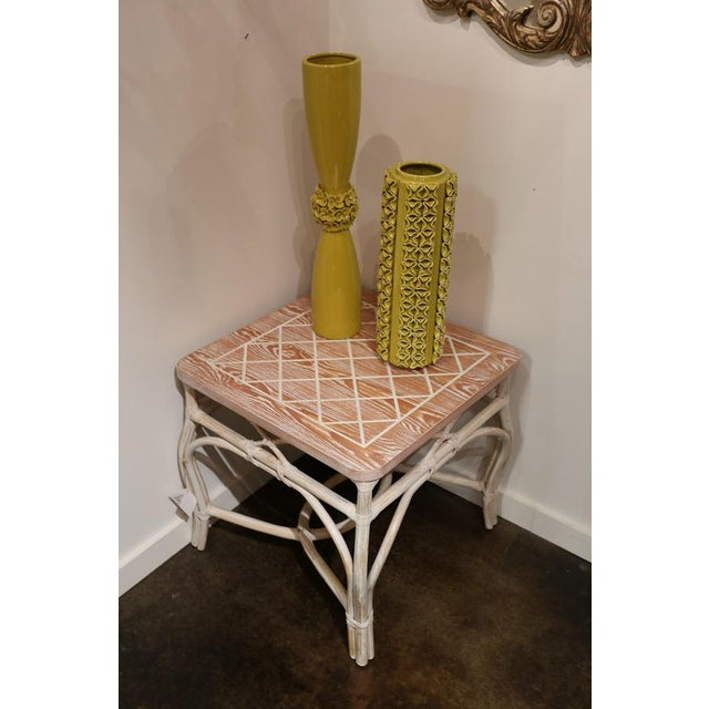 Rattan occasional table with scored top and white-washed finish. Italy.