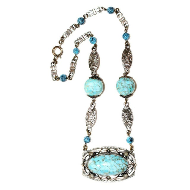 1920s 1920s Silver-Plated Turquoise Glass Necklace, Art Nouveau Design For Sale - Image 5 of 5