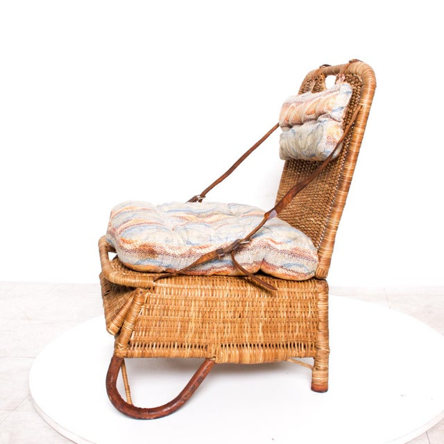 Late 20th Century Mid Century Modern Rattan Leather Sculptural Portable Traveling Chair For Sale - Image 5 of 11