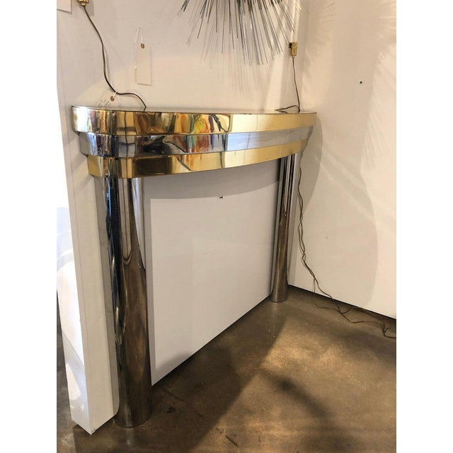 Art Deco Mid-Century Brass and Chrome Fireplace Mantel For Sale - Image 3 of 7