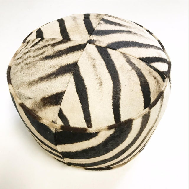 Modern Zebra Hide Pouf Ottoman For Sale - Image 3 of 6
