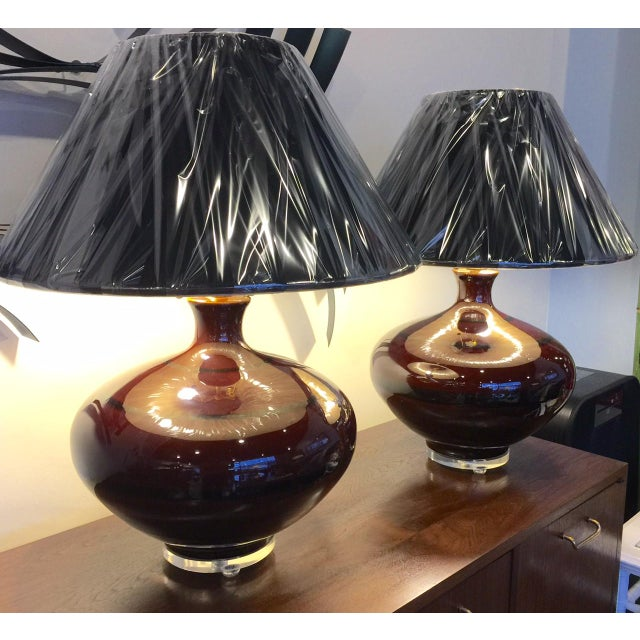 Mid-Century Brown Table Lamps - A Pair - Image 2 of 5