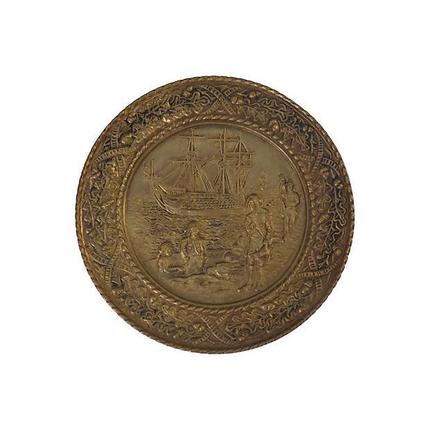 Vintage English Hammered Brass Ship Wall Plaque For Sale - Image 5 of 6