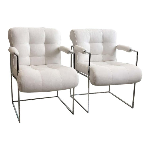 Milo Baughman Thin Line Chairs in Polished Chrome - a Pair For Sale