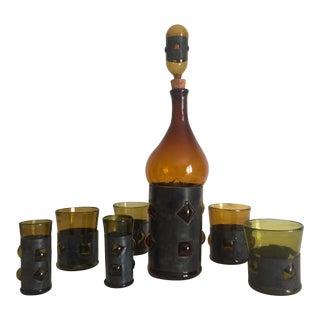 Vintage Mid Century Modern Brutalist Felipe Derflingher Glass Decanter & Glasses - Set of 8 For Sale