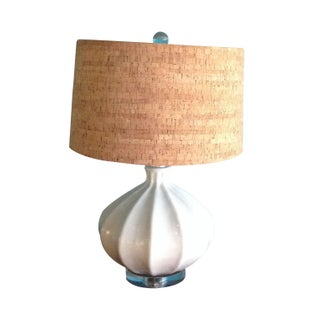White Pottery Lamp with Cork Shade
