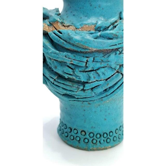 1970s Studio Art Pottery Ceramic Sculpture Blue Vase by Maurice Grossman-Cubist Mid Century Modern Brutalist Boho Face Bust Abstract MCM Art Deco For Sale - Image 11 of 13