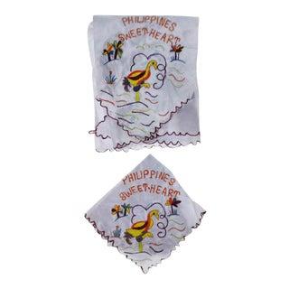 Vintage Ww2 Philippines Sweetheart Satin Scarf & Handkerchief For Sale