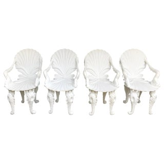 Set of Four Painted White Carved Wood Grotto Armchairs For Sale