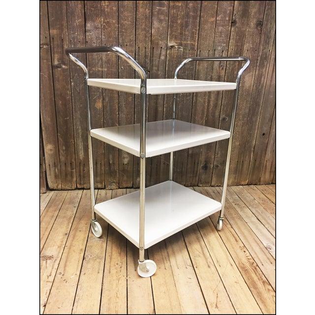 Mid Century Modern Beige Metal Cosco 3 Tier Cart - Image 3 of 11