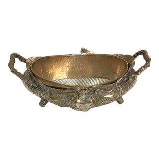 1970s Art Nouveau Style Silver Plated Jardiniere With Original Insert For Sale