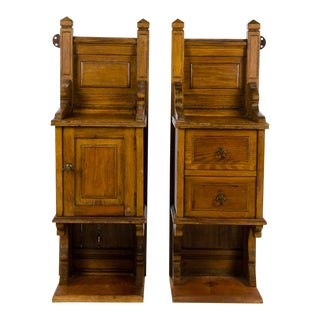 19th Century English Traditional Oak Shelf Wall Cabinets - a Pair For Sale
