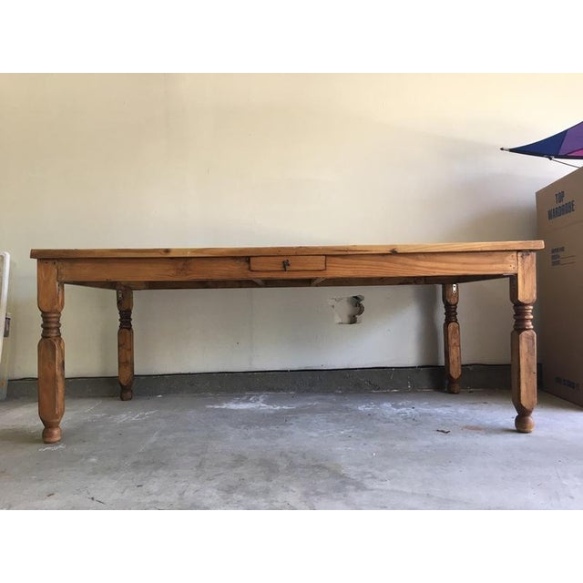 Mexican Carved Wood Single Drawer Dining Table - Image 3 of 6