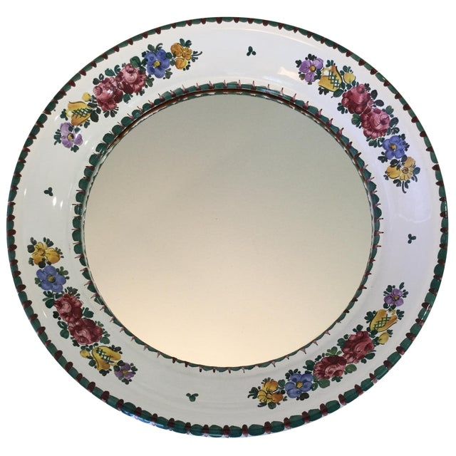 Hand-Painted Ceramic Floral Mirror - Image 1 of 5