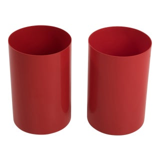 Vintage Kartell Red Plastic Waste Paper Baskets - a Pair Sold Individually For Sale