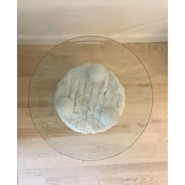 Contemporary Sculpted Plaster and Glass Side Table For Sale - Image 3 of 6