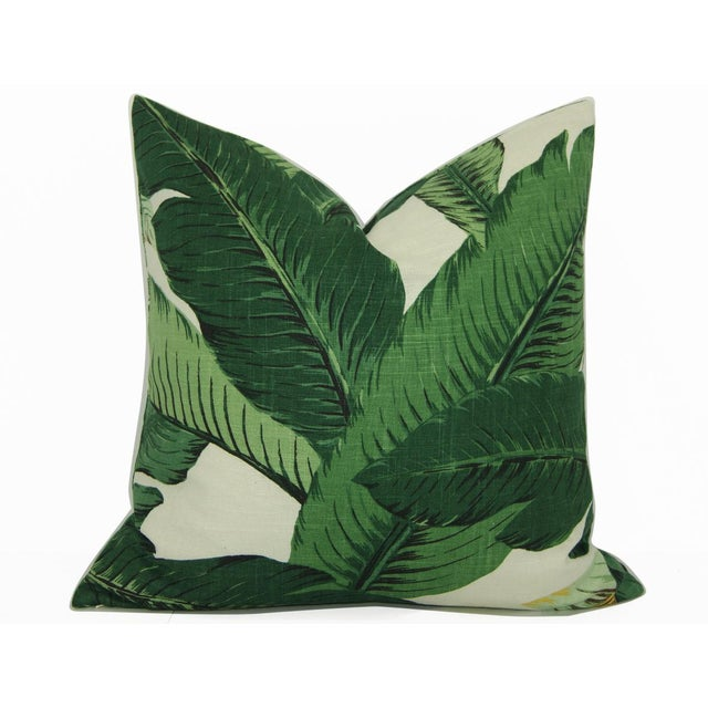 2010s Swaying Palms Green Linen Pillow Cover For Sale - Image 5 of 5