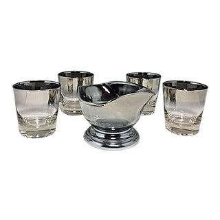 1960s Mid-Century Modern Silver Fade Ombre Rocks Glasses & Nut Bowl - 5 Pieces For Sale