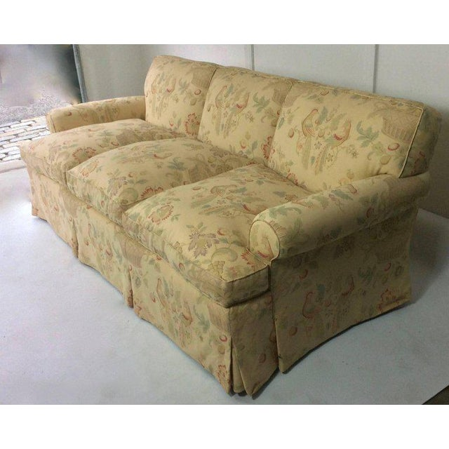 English Traditional English Sofa, Manner of George Smith, Custom Upholstered in Bennison Linen For Sale - Image 3 of 7