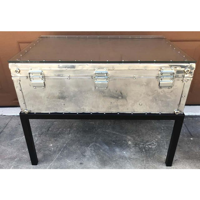Japanese Post War Aluminum Riveted Trunk on Iron Stand With Glass Top, Restored For Sale - Image 11 of 12