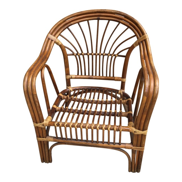 Vintage Boho Rattan & Bamboo Armchair - Image 1 of 8