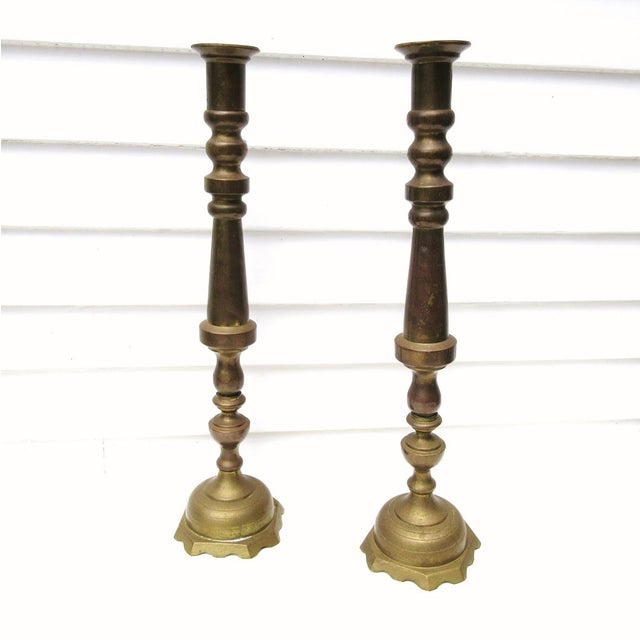 Vintage Tall Brass Candle Holders - A Pair - Image 4 of 7