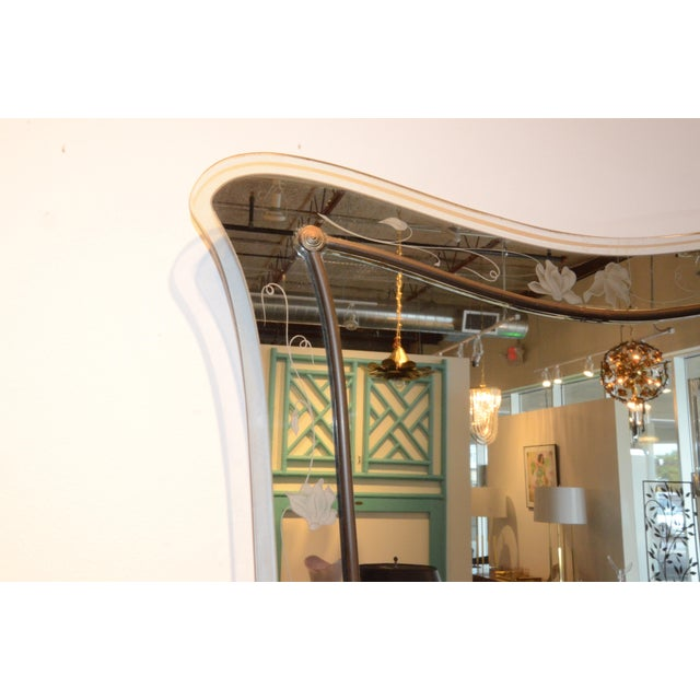 Attributed to Pietra Cheisa for Fontana Arte Mid Century Modern Italian Etched Glass Mirror - Image 5 of 11