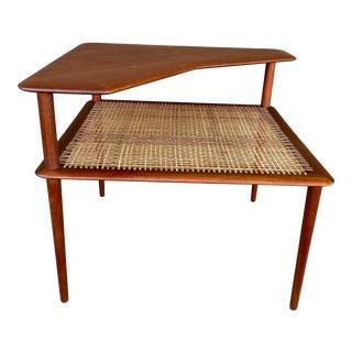 1950s Peter Hvidt Danish Modern Cane Shelf Teak Corner Table For Sale
