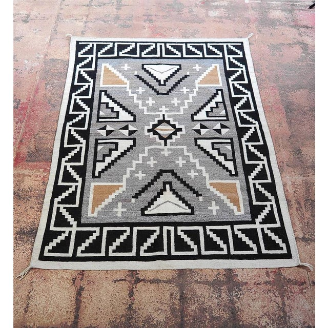 "Vintage 1920s Navajo Geometric Rug - 3′6″ x 73"" - Image 2 of 11"