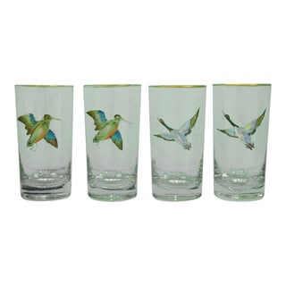 Set of 4 Hand-Painted Gamebird Highball Glasses For Sale