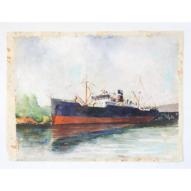 Nautical Vintage Steamship Watercolor Painting For Sale - Image 3 of 4