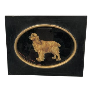 1940s Vintage Golden Retriever Reverse Painting on Glass For Sale