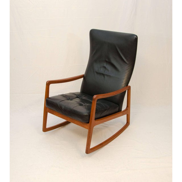 Black Danish Teak and Leather High Back Rocking Chair by Ole Wanscher For Sale - Image 8 of 11