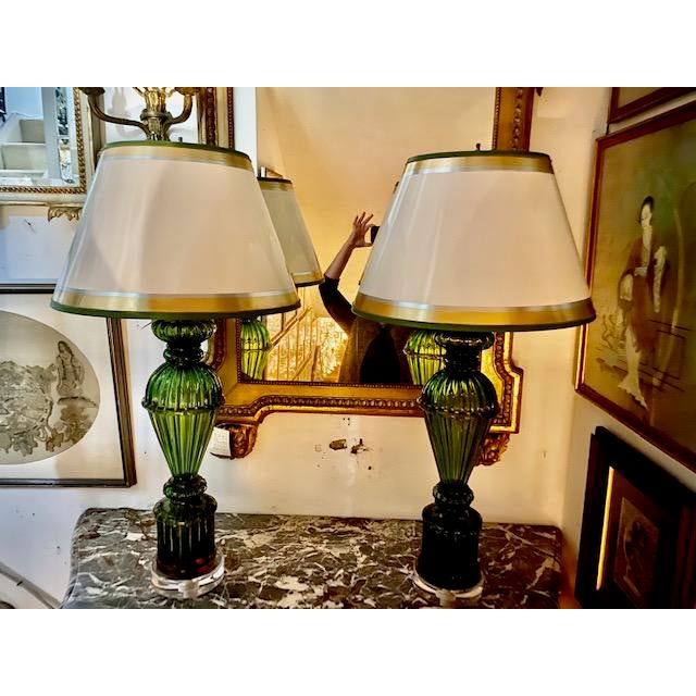 Glass Vintage Murano Glass Lamps - a Pair For Sale - Image 7 of 8