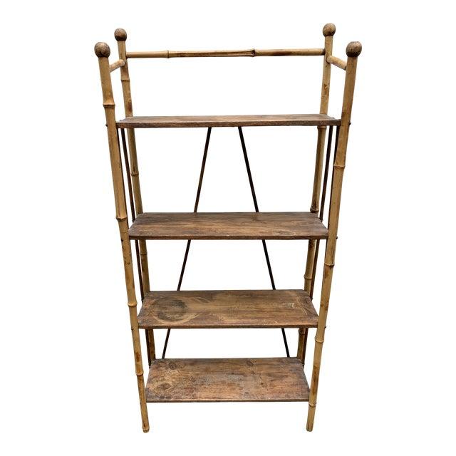 Antique Burnt Bamboo Shelf For Sale