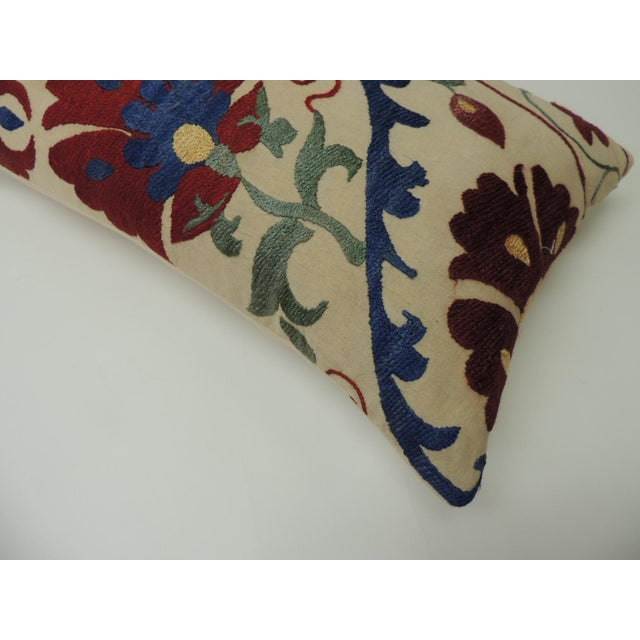 """Vintage Colorful Floral Embroidery """"Suzani"""" Decorative Lumbar Pillow For Sale - Image 4 of 7"""