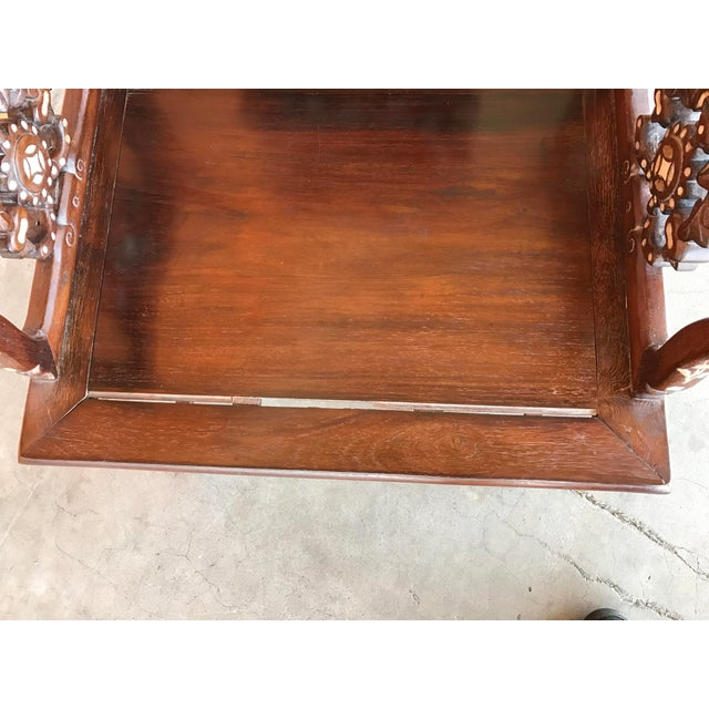 Brown Regal Mother of Pearl Inlaid Asian Side Chair For Sale - Image 8 of 8