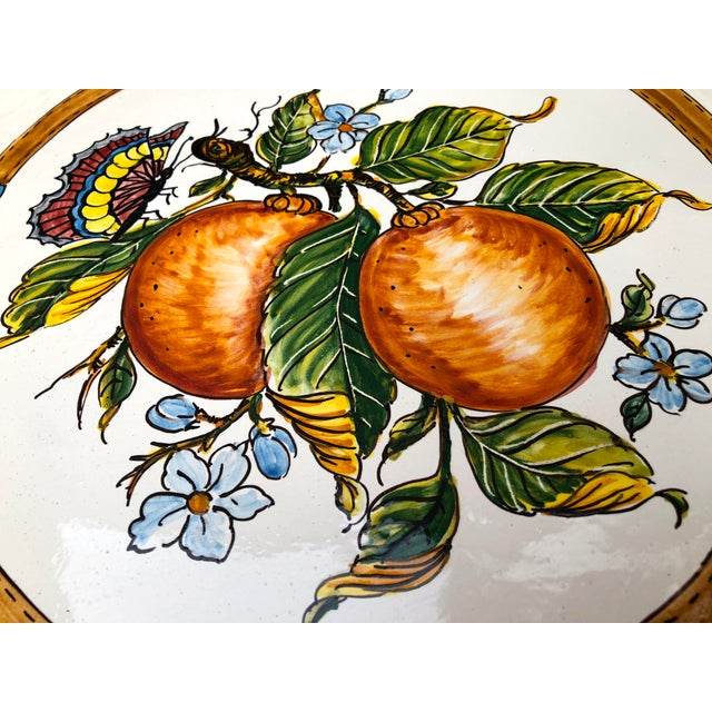 """20th Century Italian 21"""" Pair Ceramic Wall Plates/Chargers Decorative Oranges and Plums For Sale - Image 4 of 12"""