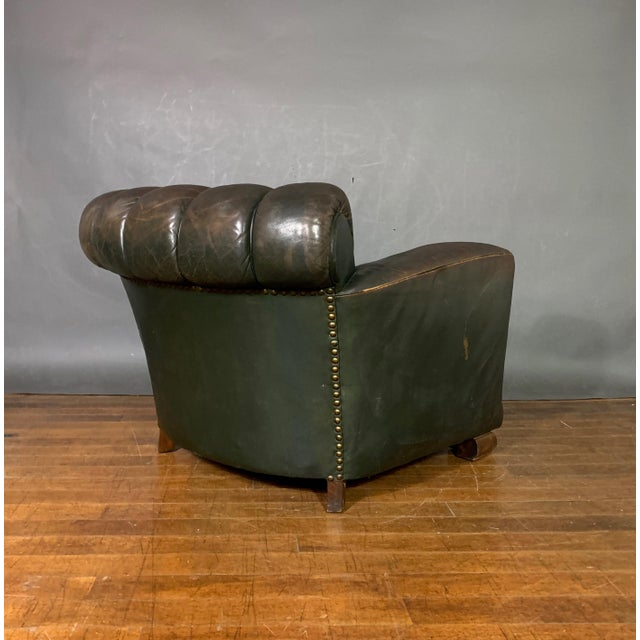 Animal Skin French Art Deco Green Leather Club Chair, 1930s For Sale - Image 7 of 12