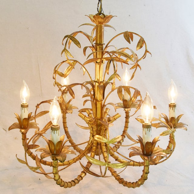 Vintage Italian Six-Arm/Light Gold Gilt Bamboo Tole Chandelier - Image 4 of 11